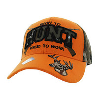 VM181 Born to Hunt Forced to Work Velcro Cap (Orange & Hunting Camo)