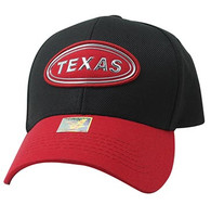 VM815 Texas State Baseball Hat Cap (Black & Red)