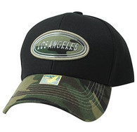 VM815 Los Angeles Cotton Baseball Cap Hat (Black & Military Camo)