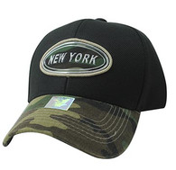 VM815 New York Cotton Baseball Cap Hat  (Black & Military Camo)