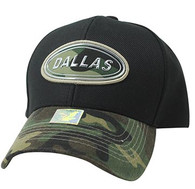 VM815 Dallas Cotton Baseball Cap Hat  (Black & Military Camo)