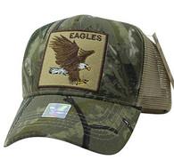 VM918 Eagle Mesh Trucker Baseball Cap (Hunting Camo & Khaki)