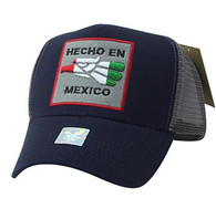 VM918 Hecho En Mexico Eagle Mesh Trucker Baseball Cap (Navy & Grey)