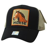 VM918 Horse Mesh Trucker Baseball Cap (Black & Khaki)