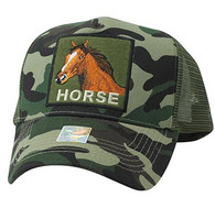 VM918 Horse Mesh Trucker Baseball Cap (Military Camo & Olive)