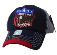 VM937 Eagle Cotton Baseball Cap (Navy & Grey)