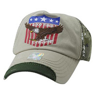 VM937 Eagle Cotton Baseball Cap (Khaki & Hunting Camo)