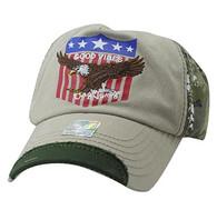 VM937 Eagle Cotton Baseball Cap (Khaki & Hunting Camo)