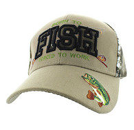 VM181 Born to Fish Forced to Work Velcro Cap (Khaki & Hunting Camo)