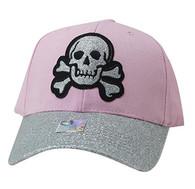 VM938 Skull Velcro Cap (Light Pink & Silver)