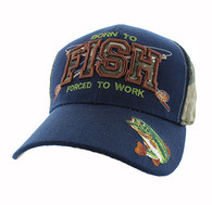 VM181 Born to Fish Forced to Work Velcro Cap (Navy & Hunting Camo)