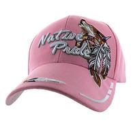 VM291 Native Pride Wolf Velcro Cap (Solid Light Pink)