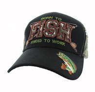 VM181 Born to Fish Forced to Work Velcro Cap (Black & Hunting Camo)