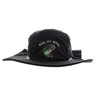 BH008 Kiss My Bass Outdoor Sports  Cotton Buck Hat Cap (Solid Black)
