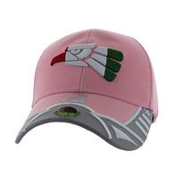 VM421 Mexico Eagle Baseball Velcro Cap (Light Pink & Light Pink)