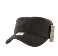 BP081 Washed Cotton Castro Caps (Solid Brown)