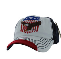 VM937 Eagle Cotton Baseball Cap (White & Navy)