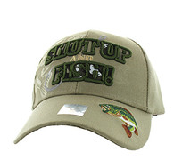 VM199 Shut Up and Fish Velcro Cap (Solid Khaki)