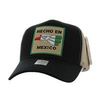 VM918 Hecho En Mexico Eagle Mesh Trucker Baseball Cap (Black & Khaki)