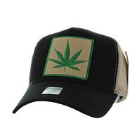 VM918 Marijuana Mesh Trucker Baseball Cap (Black & Khaki)