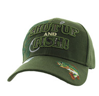 VM199 Shut Up and Fish Velcro Cap (Solid Olive)