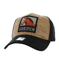 VM961 Horse Velcro Cap (Black & Black)