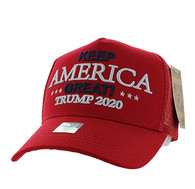 VM983 Trump 2020 Keep America Great Mesh Trucker Cap (Solid Red)