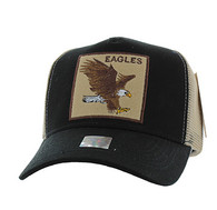 VM918 Eagle Mesh Trucker Baseball Cap (Black & Khaki)