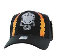 VM022 Skull Baseball Velcro Hat Cap (Solid Black)