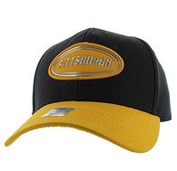 VM815 Pittsburgh Cotton Baseball Cap Hat (Black & Gold)