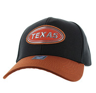 VM815 Texas State Baseball Hat Cap (Black & Texas Orange)