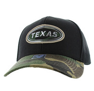 VM815 Texas State Baseball Hat Cap (Black & Military Camo)