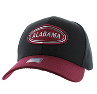 VM815 Alabama Cotton Baseball Cap Hat  (Black & Burgundy)