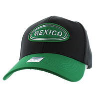 VM815 Mexico Cotton Baseball Cap Hat (Black & Kelly Green)
