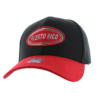 VM815 Puerto Rico Baseball Cap Hat (Black & Red)