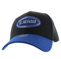 VM815 El Salvador Baseball Cap Hat (Black & Royal)