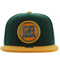 SM984 Green Bay City Snapback Cap (Dark Green & Gold)