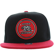 SM984 Cali Bear Snapback Cap (Black & Red)