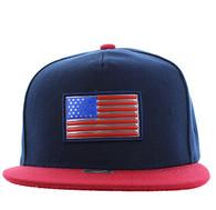 SM984 USA Flag Snapback Cap (Navy & Red)