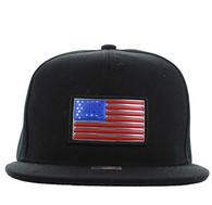 SM984 USA Flag Snapback Cap (Black & Black)