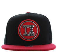 SM984 Texas State Snapback Cap (Black & Red)