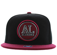 SM984 Alabama State Snapback Cap (Black & Burgundy)