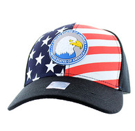 VM949 American USA Eagle Velcro Cap (Solid Black)