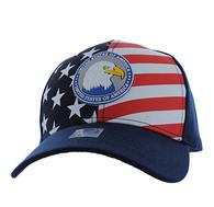 VM949 American USA Eagle Velcro Cap (Solid Navy)