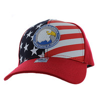 VM949 American USA Eagle Velcro Cap (Solid Red)