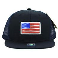 SM947 America USA Flag Snapback Mesh Cap (Solid Navy)