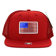 SM947 America USA Flag Snapback Mesh Cap (Solid Red)