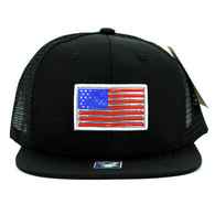 SM947 America USA Flag Snapback Mesh Cap (Solid Black)