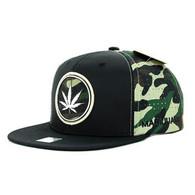 SM062 Marijuana Snapback Cap (Black & Military Camo)