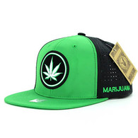 SM062 Marijuana Snapback Cap (Kelly Green & Black)